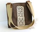 Waxed Canvas Tote Bag -Women's Shoulder Bag - Vintage Lace - Chestnut Brown