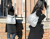 Women's Canvas Tote Bag - Adjustable Strap - Black and White - Stripes - Toile - Ruffles