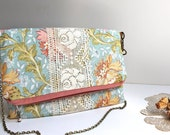 Floral and Lace Fold-Over Chain Strap Bag with Zipper Closure