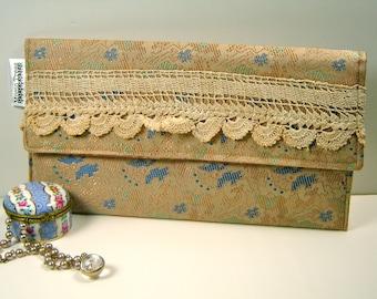Envelope Clutch - Vintage Tan Brocade Fabric - Vintage Hand Crochet Lace- SALE
