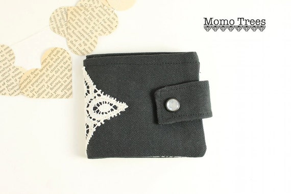 Women's Credit Card Wallet-Vintage Lace-Black and White