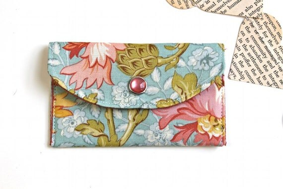 Women's Wallet - Fabric Credit Card Holder - Floral Scroll