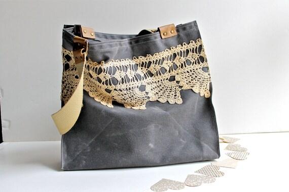 Waxed Canvas Bag -Women's Shoulder Bag - Lace Tote Bag - Vintage Handmade Lace - Grey