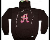 Kids Personalized Sweatshirt Hoodie with Letter Initial - Size Youth Small, Medium, Large, Xlarge