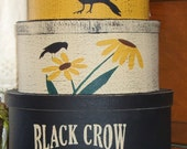 Black Crow Sunflower Seeds primitive shaker style stacking boxes