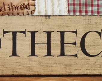 Apothecary primitive wood sign