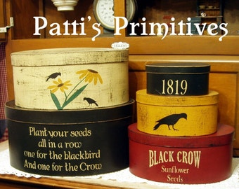 Black Crow sunflowers primitive shaker style stacking boxes