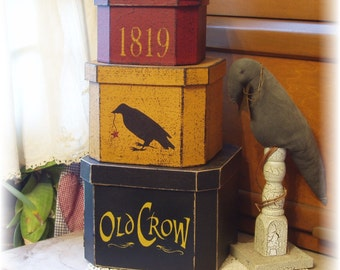 Old Crow shaker style stacking boxes