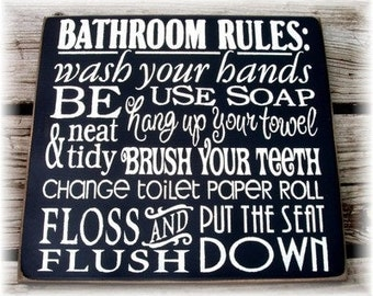 Bathroom Rules typography wood sign