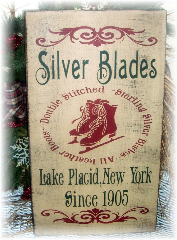Silver Blades primitive wood Christmas sign