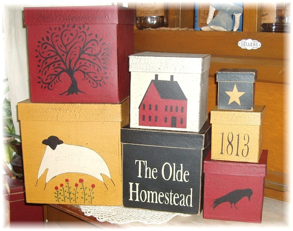 The Olde Homestead primitive shaker style stacking boxes