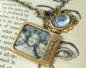 TV Necklace We See You Television; hand crafted brass necklace, vintage photos, eye charm w open loop brass frame, nostalgic, antiqued, fun!