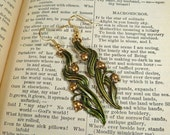 Green Earrings Flower Earrings Lily of the Valley