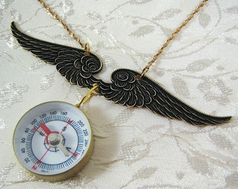 Winged Compass Brass Necklace - Flights of Fancy
