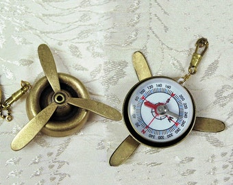 Aviator Compass and Brass Propeller Long Navigator Necklace