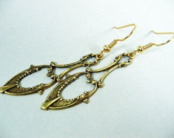 Fancy Teardrop Antiqued Brass Earrings