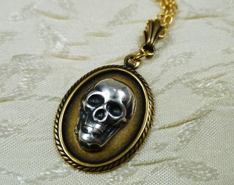 Human Skull Portrait Necklace Brass and Silver