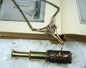 Working Telescope Spyglass Necklace Brass and Copper