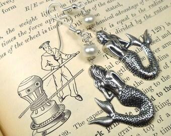 Mermaid Earrings Pearl Earrings Silver