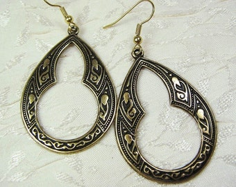 Open Keyhole Teardrop Art Deco Earrings Brass Large