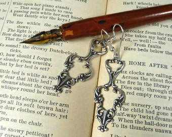 Fancy Scrollwork Earrings silver plate ox
