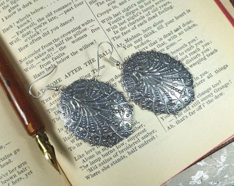 Lace Shell Antiqued Silver Earrings