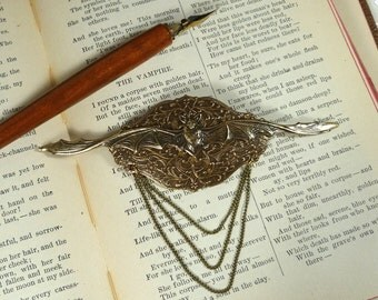 Brass Long Winged Bat Brooch