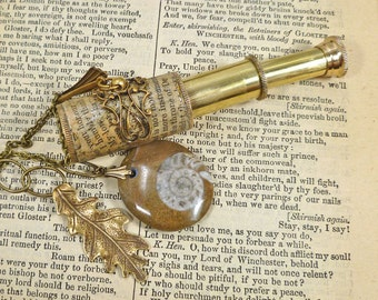 Leaf Jewelry Telescope Spyglass Ammonite Necklace with Literature browns and brass