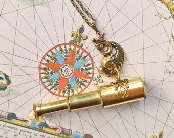 Spyglass Brass Telescope Necklace with Dolphin