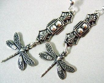 Delicate Art Deco Dragonfly Earrings Art Deco Earrings