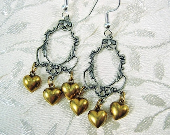 Hearts and Filigree Mixed Metal Earrings