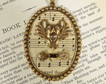 Singing Bat Gargoyle Necklace Music Macabre Goth