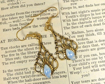 Art Deco Earrings Opal Blue Sabrina Glass Brass Teardrop