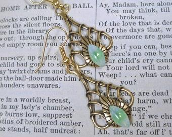 Green Sabrina Glass Art Deco Earrings Opal  Brass Teardrop