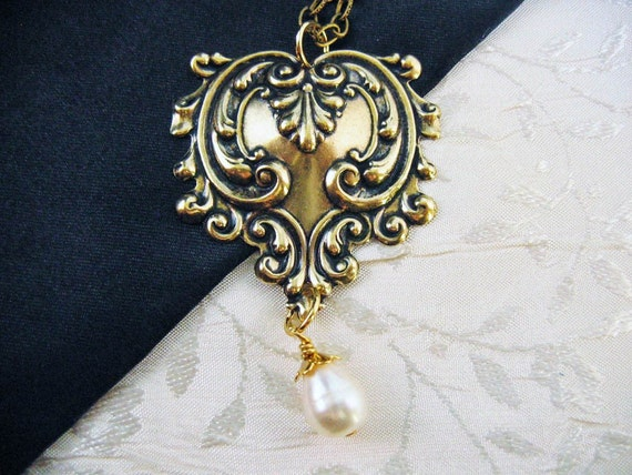 Brass Heart with Pearl Necklace, Baroque Leaf and Vine Shapes and Real Teardrop Shaped Cultured Pearl Dangle from Edwardian Period Tooling