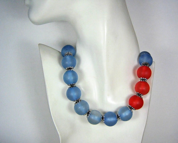 Statement Necklace Big Bead Necklace Azure and Apple