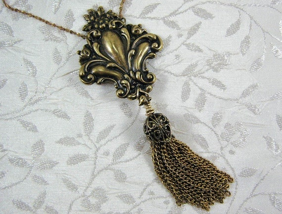Very Long Necklace Chain Tassel Fleur de Lis Antiqued Brass Floral with Filigree Tassel Naturalistic Rococo Style Classic Look Stamping
