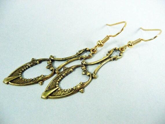 Fancy Teardrop Antiqued Brass Earrings
