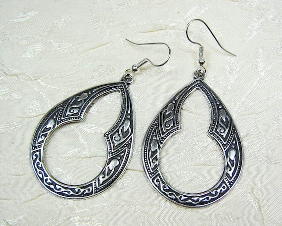 Keyhole Art Deco Earrings - Open Teardrop - Large