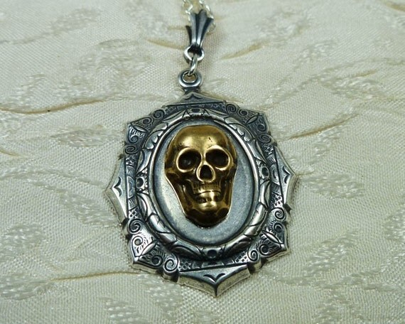 Skull Jewelry Mixed Metal Skull Necklace Pirate Goth