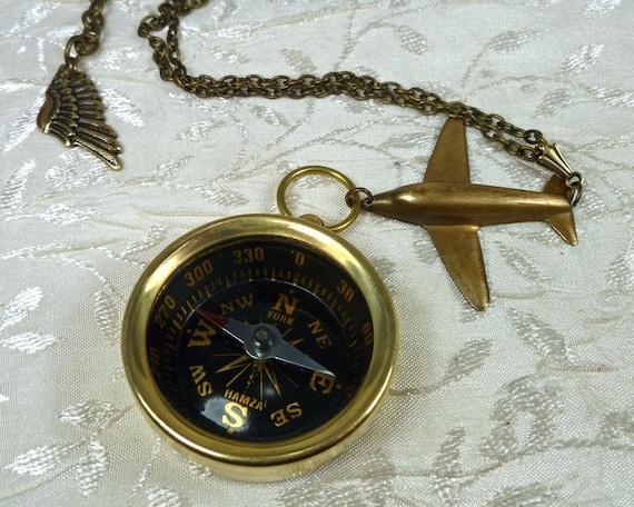 Airplane Necklace Brass Compass Jewelry