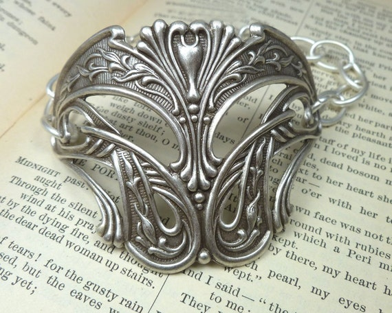 Art Nouveau Bracelet Large Half Cuff Bracelet silver