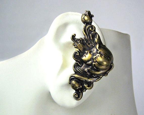 Flower Nymph Brass Large Ear Cuff Left