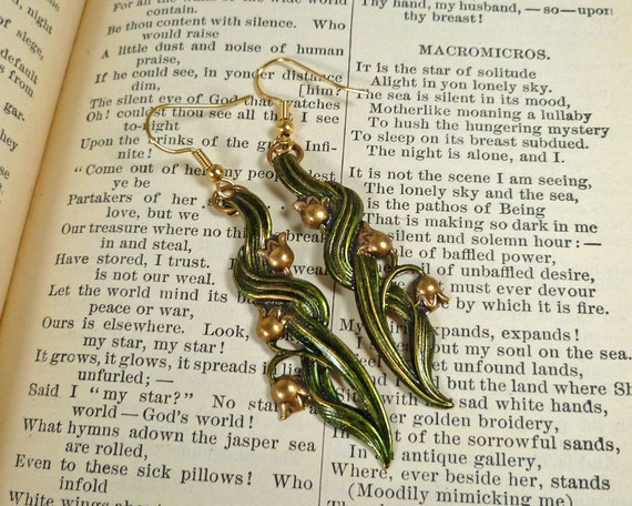 Green Earrings Flower Earrings Lily of the Valley