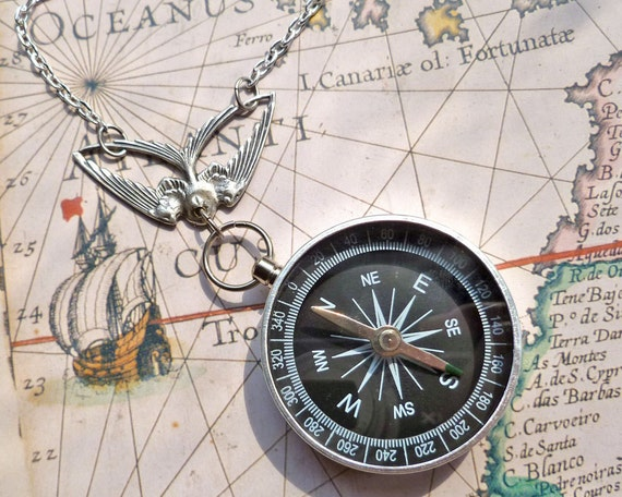 Compass Black and Silver Flying Swallow Bird Necklace Hike