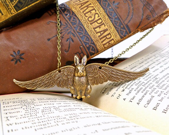 Angel Bunny Necklace Winged Rabbit