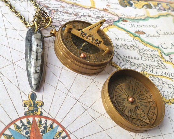 Fossil Necklace Sundial Jewelry Compass Necklace Unisex Functional