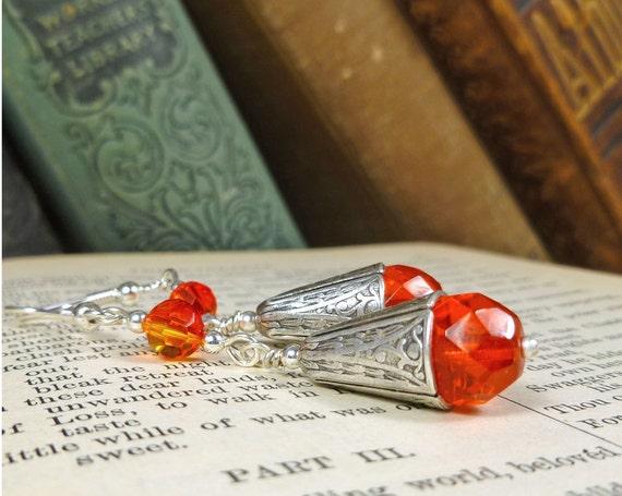 Tangerine Tango Earrings Crystal and Silver orange jewelry