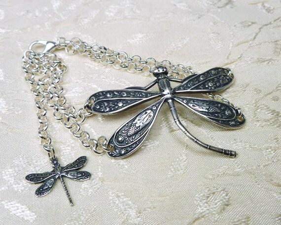 Art Deco Dragonfly Bracelet adjustable silver plate