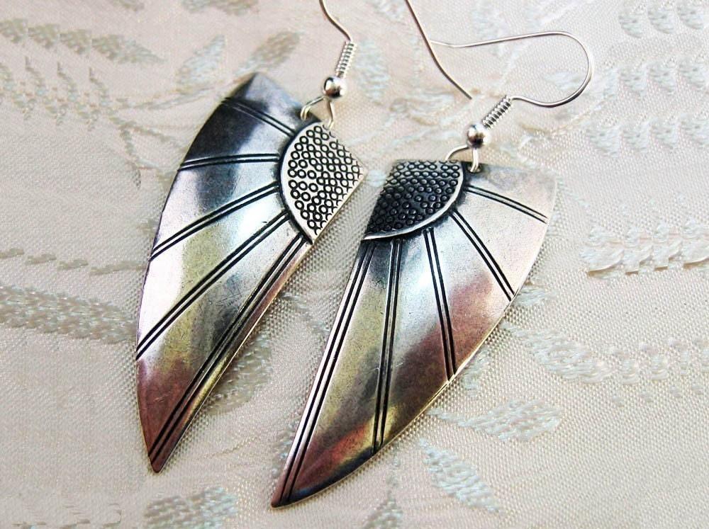 Art Deco Earrings Wing Earrings Art Deco Jewelry Sp